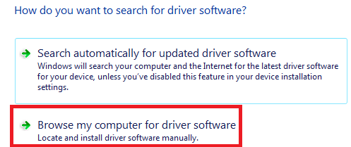 update the driver - search my computer