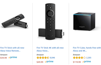 cost comparison of Amazon Fire TV devices