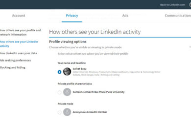 LinkedIn profile visibility settings page