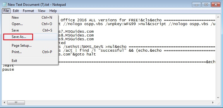 Save code as a batch file