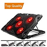 Pccooler laptop cooling pad, laptop cooler with 5 silent red LED fans for 12-17.3-inch laptop, dual USB 2.0 ports, 6-inch portable laptop stand angles for gaming laptop (PC-R5)