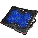 AICHESON Laptop Cooling Pad 5 fans of heavy notebook cooler d e 17.3 inches, blue LED lights, 2 USB ports, S035, blue-5fans