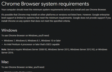 Chrome system requirements