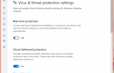 Set real-time protection status to OFF