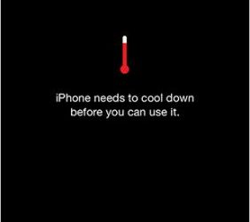 temperature cooling message on the iPhone