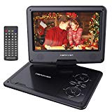 DBPOWER portable DVD player with swivel screen of 9.5 & # 39 ;, 5 hours of construction - in rechargeable battery, support CD / DVD / SD / USB card, with car charger and power adapter (black)