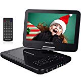 DBPOWER 10.5 portable DVD player with rechargeable battery, swivel screen, SD card slot and USB port - Black