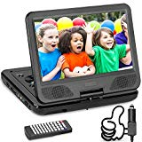 DR. J Professional 12.5 DVD player with built-in 5-hour rechargeable battery, USB port, slot for SD card, 10.5-inch internal swivel screen, no region, 1.8 m car adapter and battery adapter