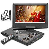 DR . J Professional 11.5 & # 39; Portable DVD Player with 5 Hours built-in rechargeable battery, USB port, SD card slot, 9.5-inch internal swivel screen, no region, 1.8 m car adapter and power adapter battery