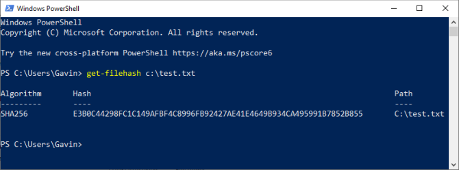 powershell getfile hash check